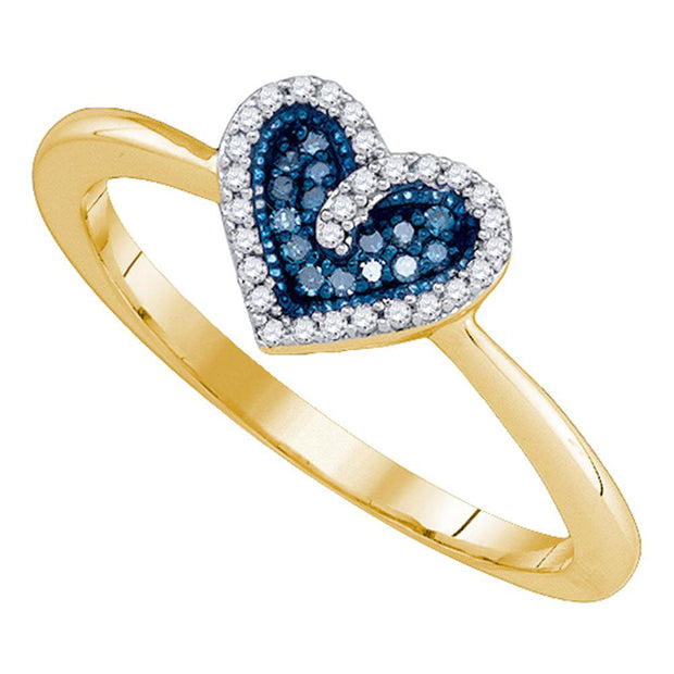 10kt Yellow Gold Womens Round Blue Color Enhanced Diamond Heart Ring 1/10 Cttw