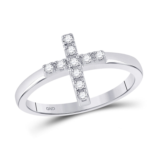 Sterling Silver Womens Round Diamond Simple Cross Religious Ring 1/8 Cttw