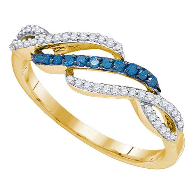 10kt Yellow Gold Womens Round Blue Color Enhanced Diamond Woven Band Ring 1/4 Cttw