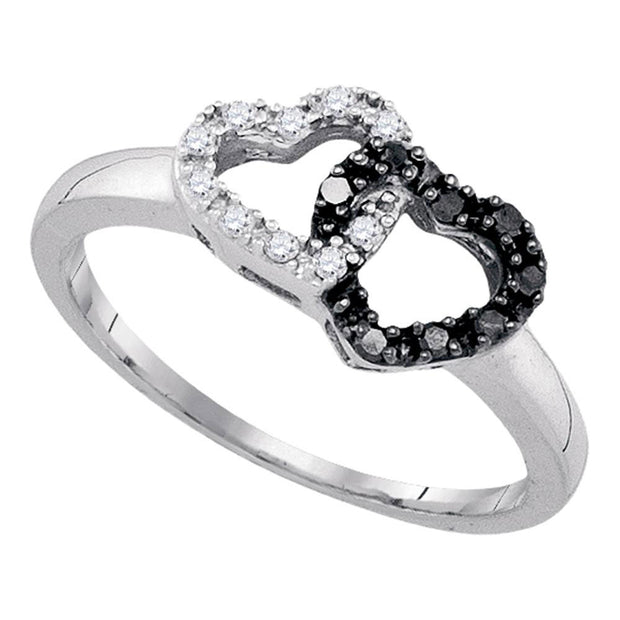 Sterling Silver Womens Round Black Color Enhanced Diamond Heart Ring 1/6 Cttw