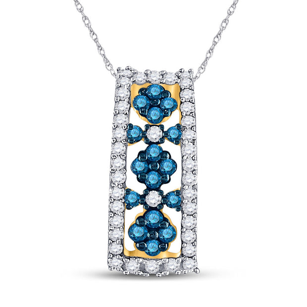 10kt Yellow Gold Womens Round Blue Color Enhanced Diamond Cluster Vertical Pendant 1/2 Cttw