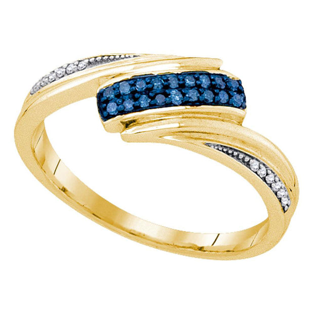 Yellow-tone Sterling Silver Womens Round Blue Color Enhanced Diamond Band Ring 1/8 Cttw