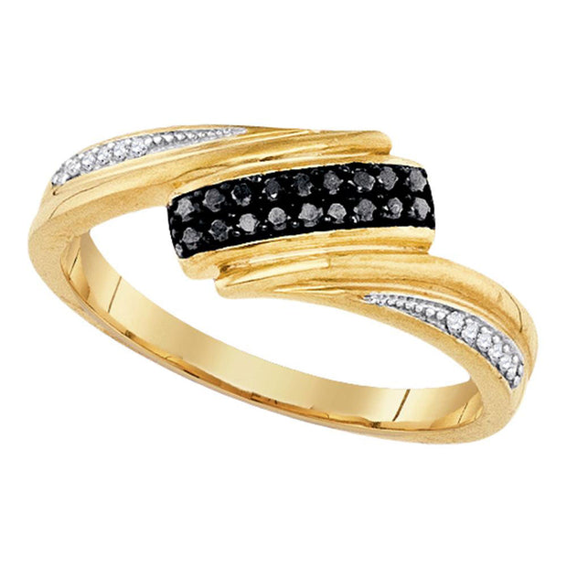 Yellow-tone Sterling Silver Womens Round Black Color Enhanced Diamond Band Ring 1/8 Cttw