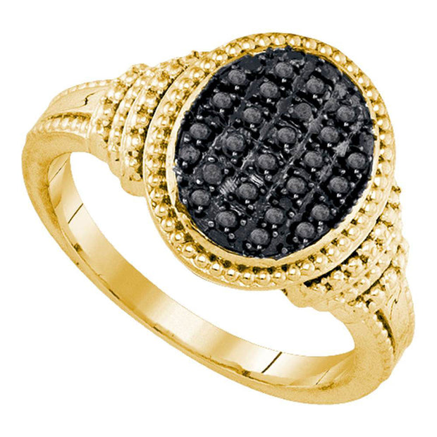 Yellow-tone Sterling Silver Womens Round Black Color Enhanced Diamond Oval Cluster Ring 1/4 Cttw