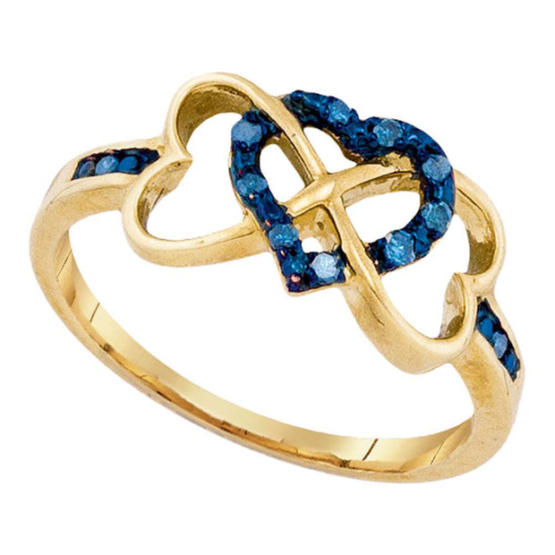 10kt Yellow Gold Womens Round Blue Color Enhanced Diamond Triple Trinity Heart Ring 1/10 Cttw