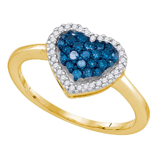 10kt Yellow Gold Womens Round Blue Color Enhanced Diamond Heart Ring 1/3 Cttw