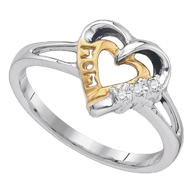 Sterling Silver Womens Round Diamond Mom Mother 2-tone Heart Ring .03 Cttw