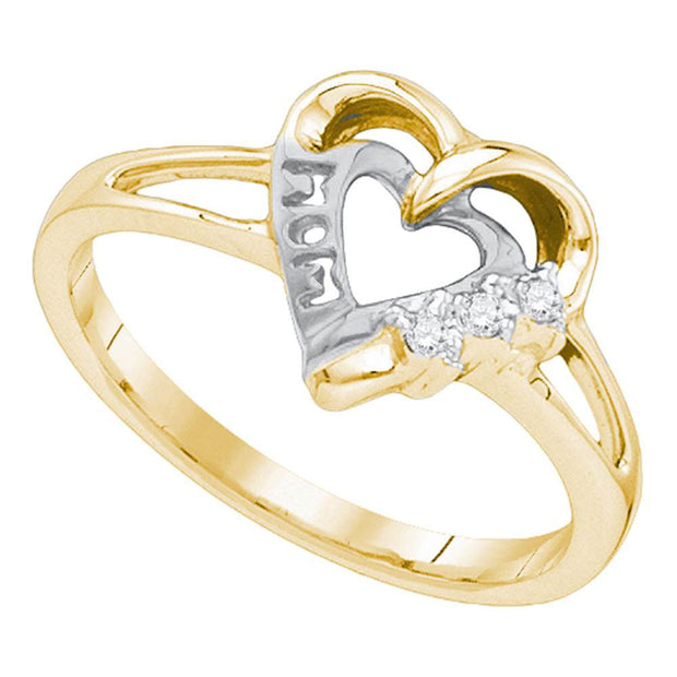 Yellow-tone Sterling Silver Womens Round Diamond Heart Ring .03 Cttw