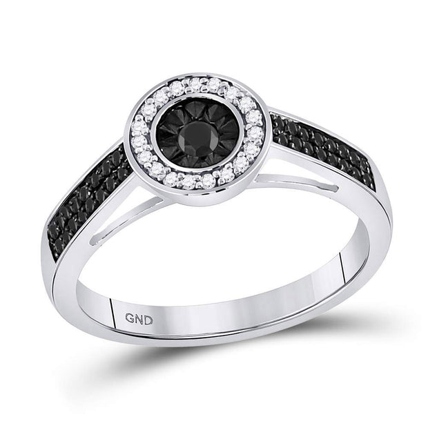 Sterling Silver Womens Round Black Color Enhanced Diamond Solitaire Ring 1/4 Cttw