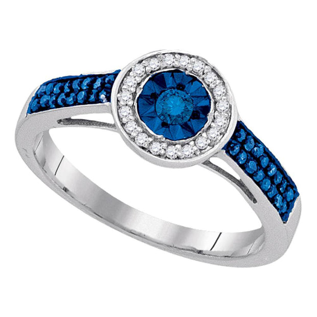 Sterling Silver Womens Round Blue Color Enhanced Diamond Solitaire Ring 1/4 Cttw