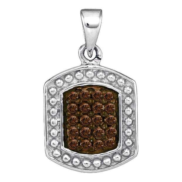 Sterling Silver Womens Round Brown Diamond Dog Tag Fashion Pendant 1/5 Cttw