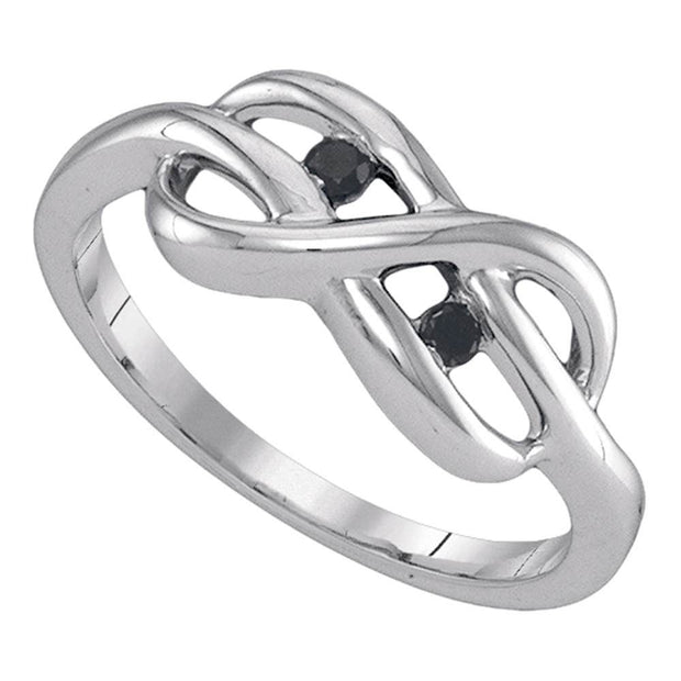 Sterling Silver Womens Black Color Enhanced Diamond Infinity Weave Woven Ring 1/12 Cttw
