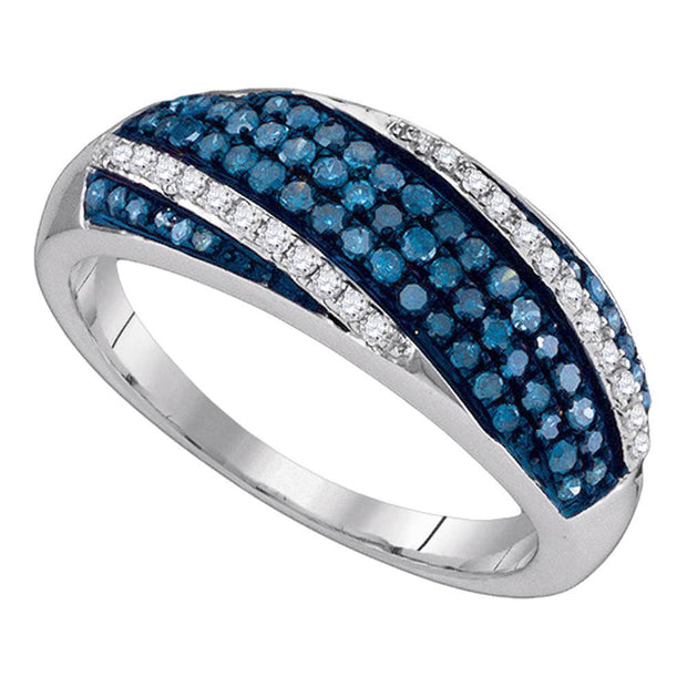 Sterling Silver Womens Round Blue Color Enhanced Diamond Diagonal Stripe Band 1/2 Cttw