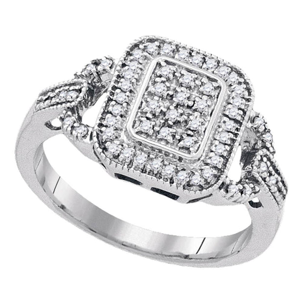 Sterling Silver Womens Round Diamond Rectangle Frame Cluster Ring 1/4 Cttw