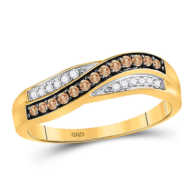 10kt Yellow Gold Womens Round Brown Diamond Band Ring 1/4 Cttw