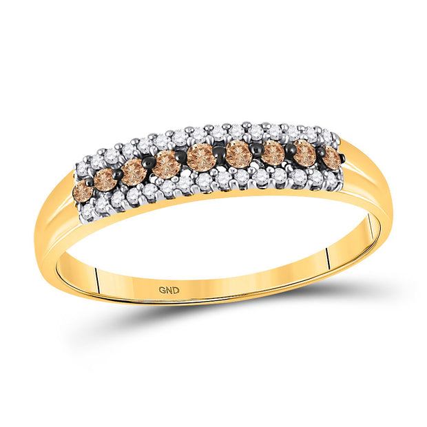 10kt Yellow Gold Womens Round Brown Diamond Band Ring 1/5 Cttw