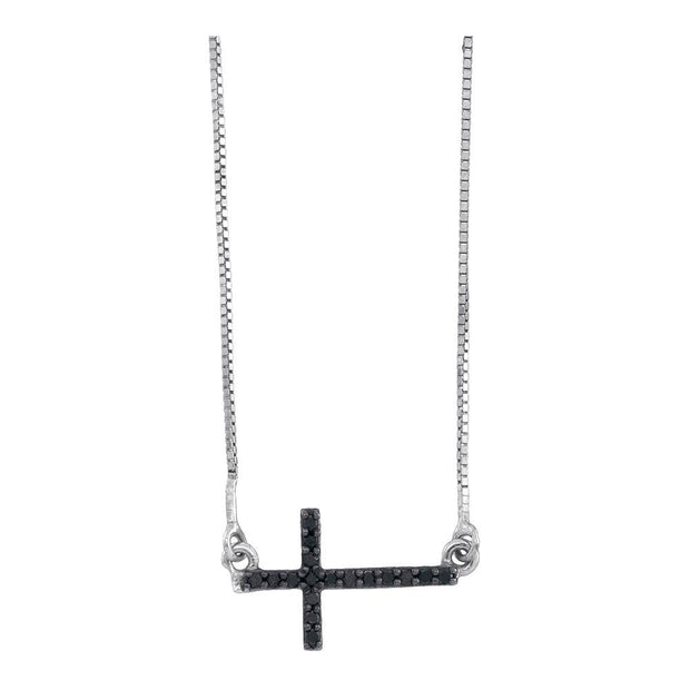 10kt White Gold Womens Round Black Color Enhanced Diamond Horizontal Cross Necklace 1/10 Cttw