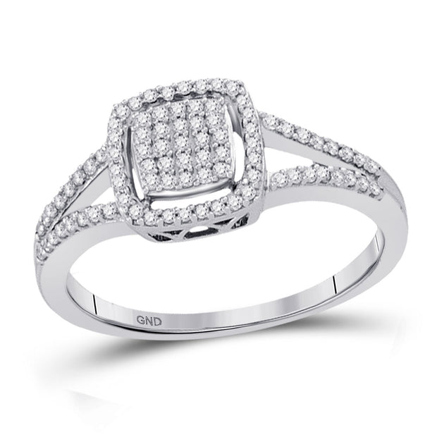 10kt White Gold Womens Round Diamond Square Frame Cluster Split-shank Ring 1/4 Cttw