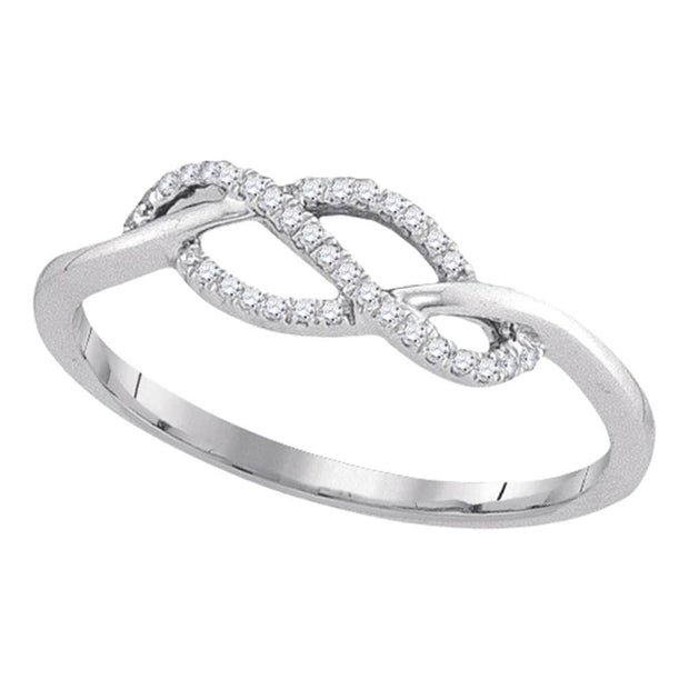 10kt White Gold Womens Round Diamond Crossover Strand Ring 1/10 Cttw