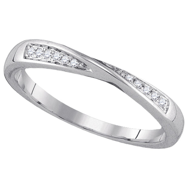 14kt White Gold Womens Round Diamond Fashion Band Ring 1/20 Cttw