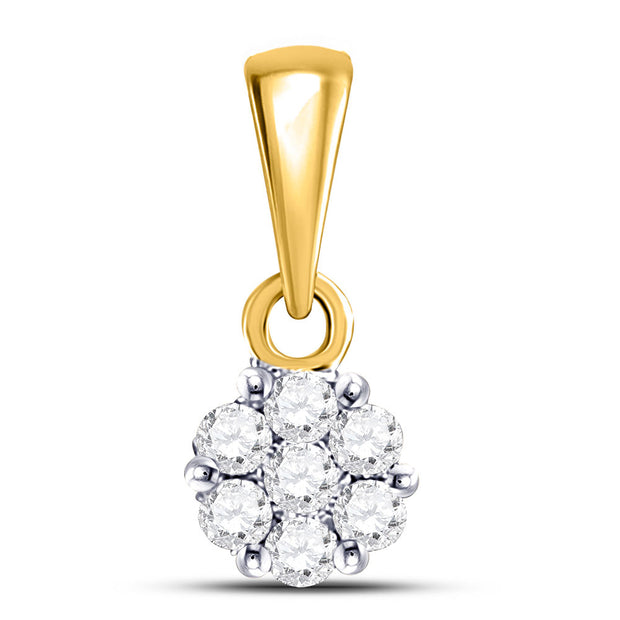 14kt Yellow Gold Womens Round Diamond Flower Cluster Pendant 1/10 Cttw