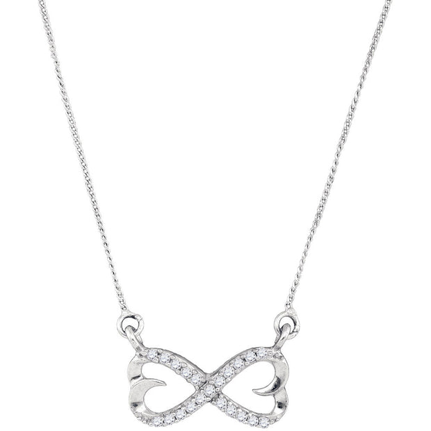 Sterling Silver Womens Round Diamond Infinity Double Heart Pendant Necklace 1/5 Cttw