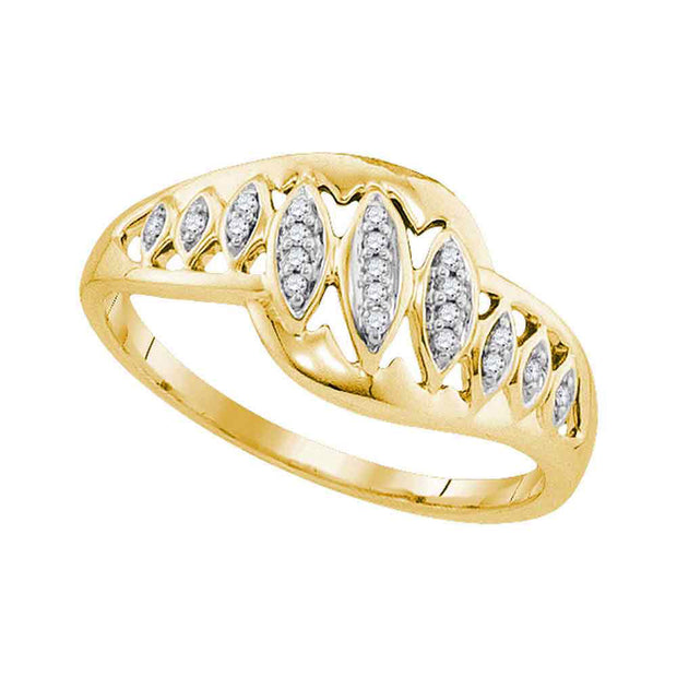 10kt Yellow Gold Womens Round Diamond Striped Openwork Band Ring 1/20 Cttw