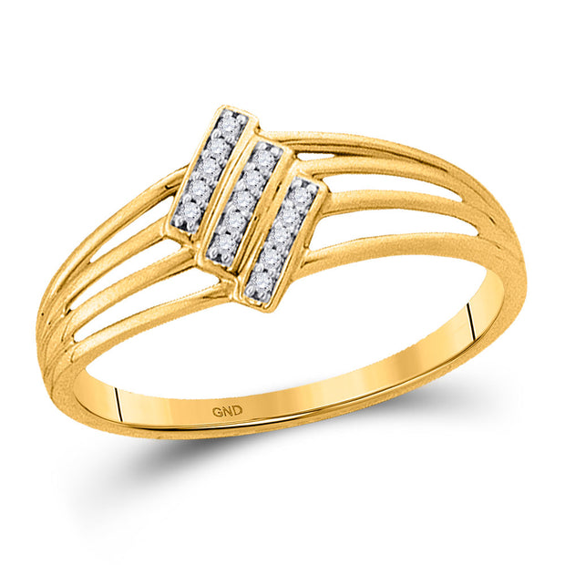 10kt Yellow Gold Womens Round Diamond Stripe Band Ring 1/20 Cttw