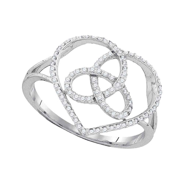 10kt White Gold Womens Round Diamond Heart Triquetra Trinity Ring 1/6 Cttw