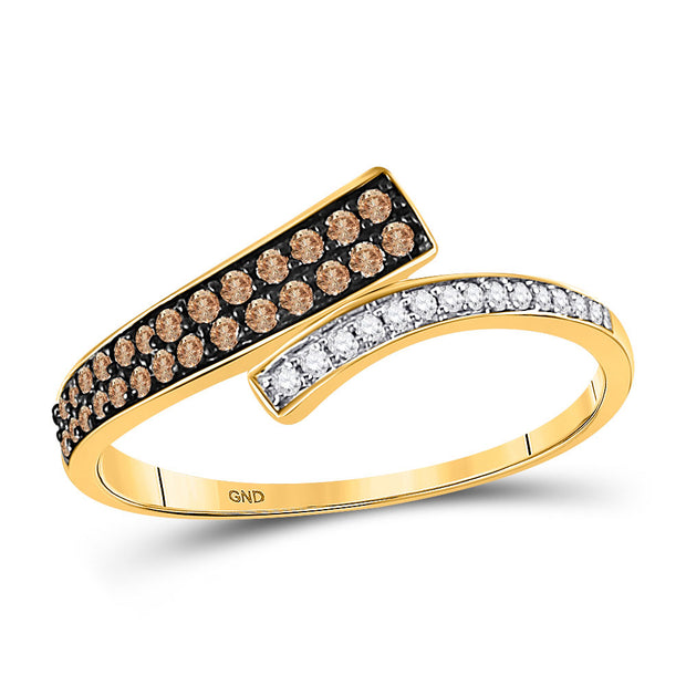 10kt Yellow Gold Womens Round Brown Diamond Bypass Band 1/4 Cttw