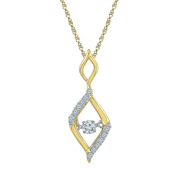 10kt Yellow Gold Womens Round Diamond Moving Twinkle Oval Fashion Pendant 1/6 Cttw