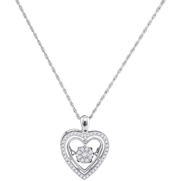 10kt White Gold Womens Round Diamond Moving Twinkle Heart Pendant 1/4 Cttw
