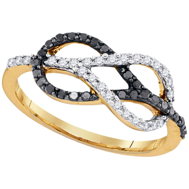 10kt Yellow Gold Womens Round Black Color Enhanced Diamond Infinity Lasso Loop Ring 1/3 Cttw