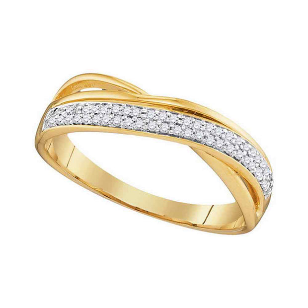 10kt Yellow Gold Womens Round Diamond Crossover Band Ring 1/6 Cttw
