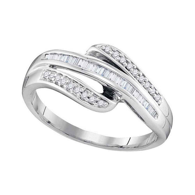 10kt White Gold Womens Baguette Channel-set Diamond Triple Row Band Ring 1/5 Cttw