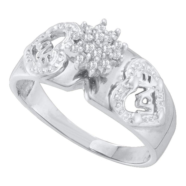10kt White Gold Womens Round Diamond Heart Cluster Ring 1/10 Cttw
