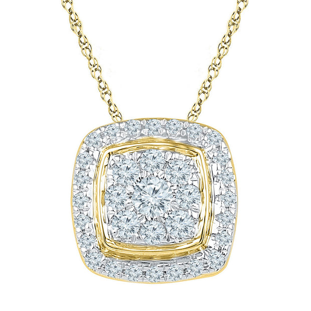 10kt Yellow Gold Womens Round Diamond Square Cluster Fashion Pendant 1/2 Cttw