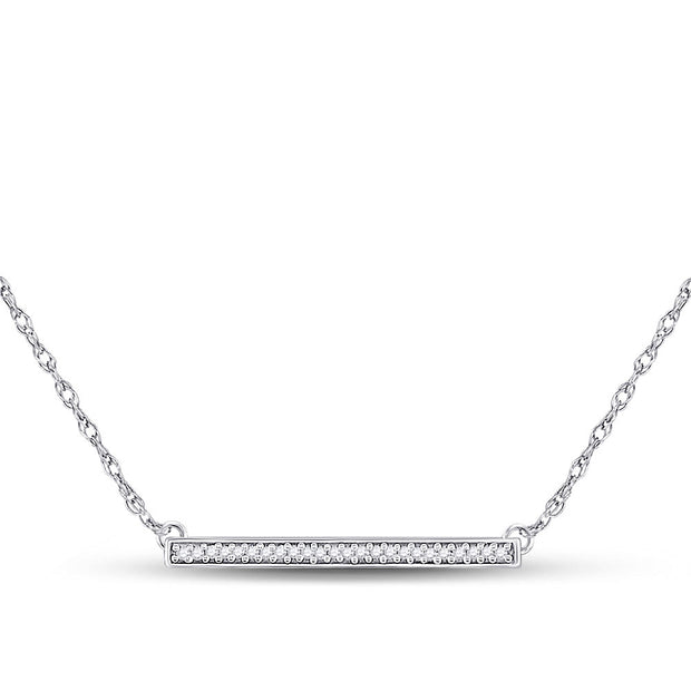 10kt White Gold Womens Round Diamond Horizontal Bar Pendant Necklace 1/10 Cttw