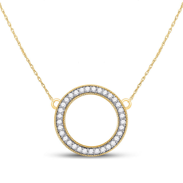 10kt Yellow Gold Womens Round Diamond Circle Pendant Necklace 1/2 Cttw