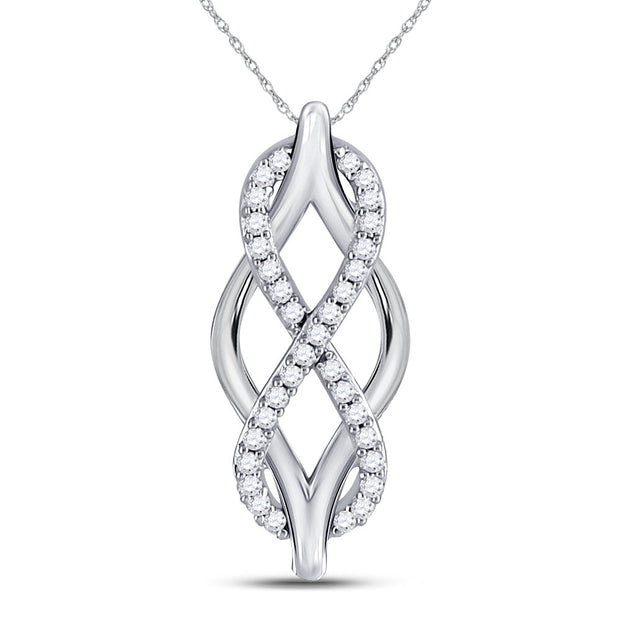 10kt White Gold Womens Round Diamond Vertical Infinity Pendant 1/12 Cttw