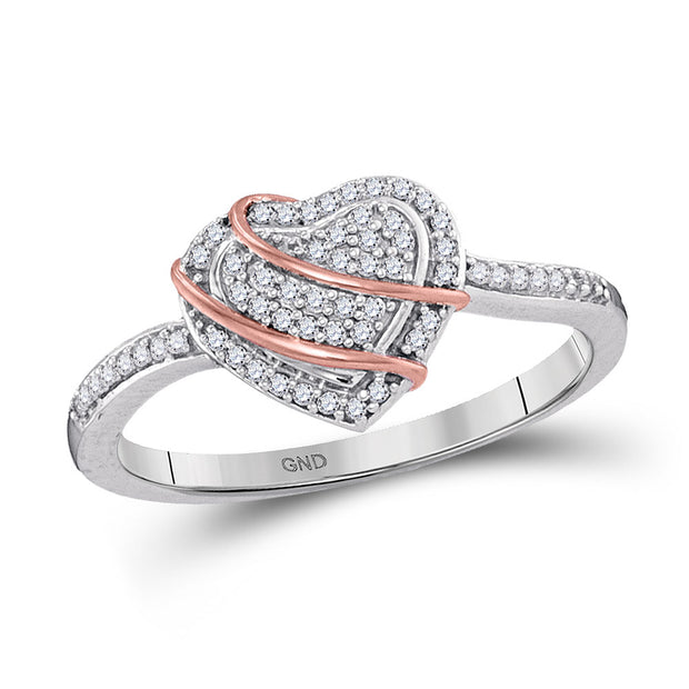10kt White Gold Womens Round Diamond Heart Cluster Ring 1/6 Cttw