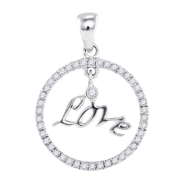 10k White Gold Round Diamond Womens Circular Captured Love Circle Pendant