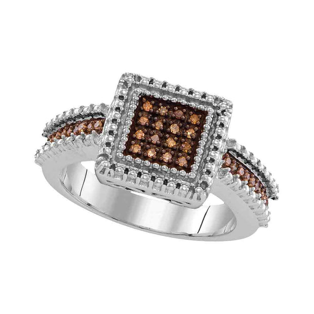 Sterling Silver Womens Round Brown Diamond Square Cluster Ring 1/6 Cttw