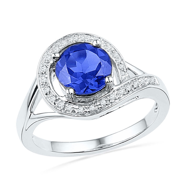 10kt White Gold Womens Round Lab-Created Blue Sapphire Solitaire Diamond Ring 1-7/8 Cttw