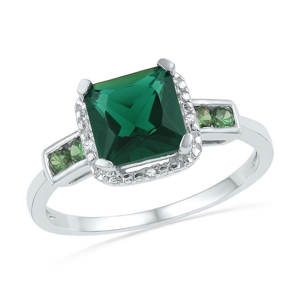 10kt White Gold Womens Princess Lab-Created Emerald Solitaire Ring 1/5 Cttw