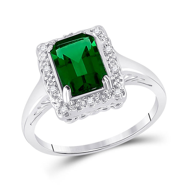 10kt White Gold Womens Emerald Lab-Created Emerald Solitaire Ring 1-4/5 Cttw
