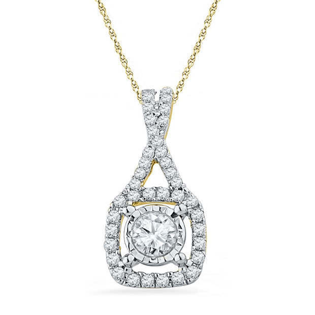 10kt Yellow Gold Womens Round Diamond Solitaire Square Frame Pendant 3/8 Cttw