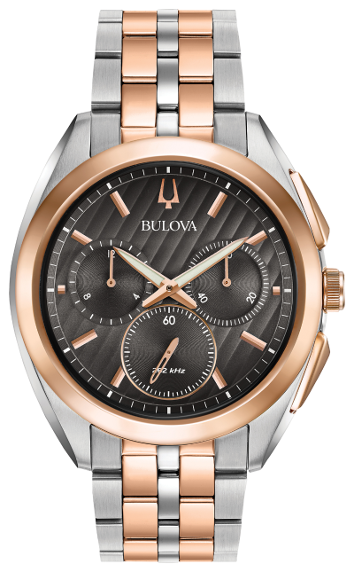 Men's Silver and Rose Gold Grey Dial Bulova Watch