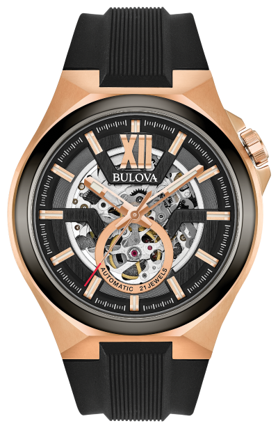 Men's Rose Gold with Black Silicon Strap Automatic Bulova Watch