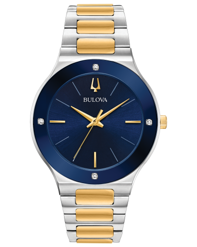 Men's Two Tone Blue Face Bulova Watch